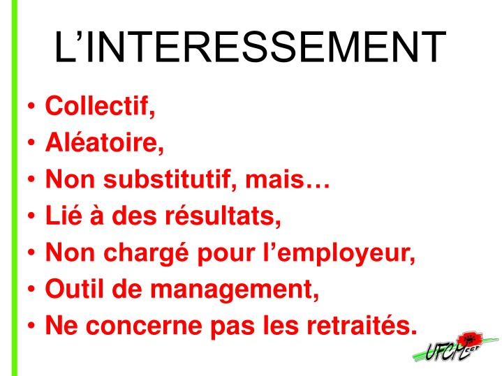 L'INTERESSEMENT
