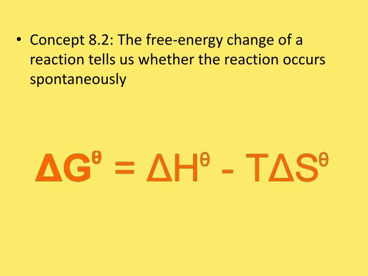 Concept 8.2: The free-energy change of a reaction tells us whether the reaction occurs spontaneously