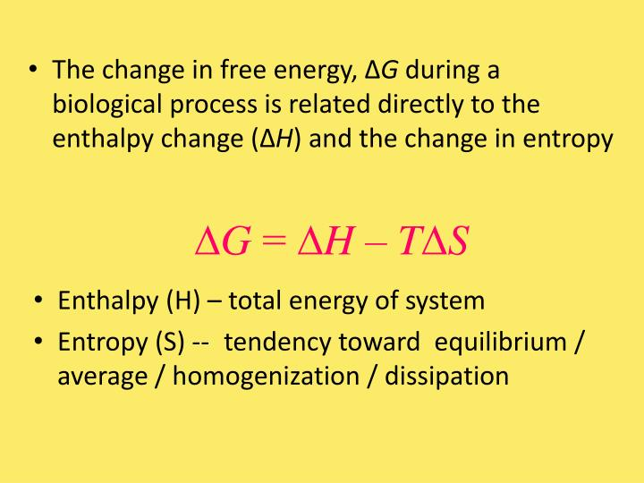 The change in free energy, ∆