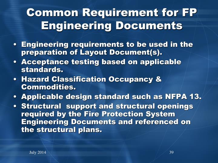 Common Requirement for FP Engineering Documents