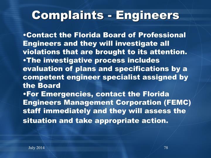 Complaints - Engineers