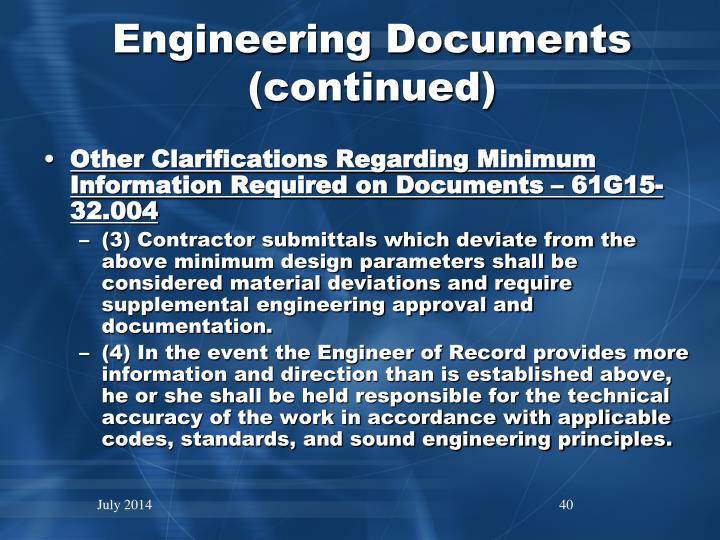 Engineering Documents (continued)