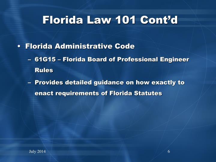 Florida Law 101 Cont'd