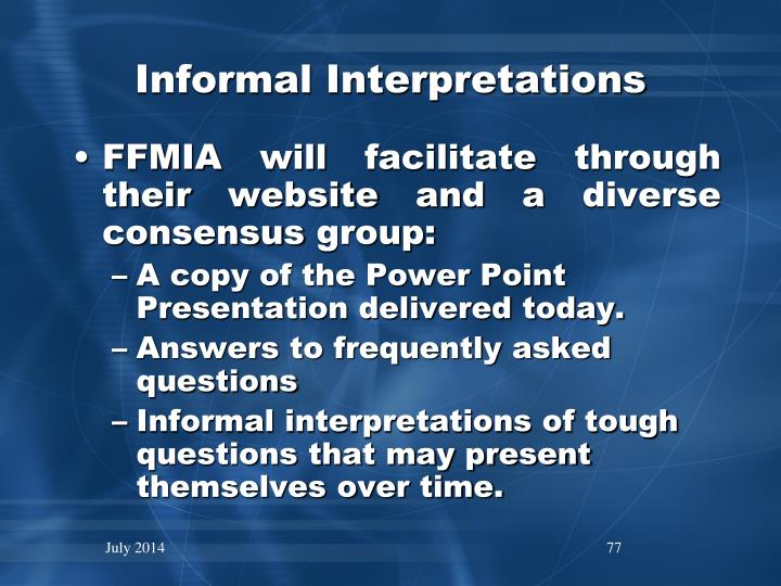 Informal Interpretations
