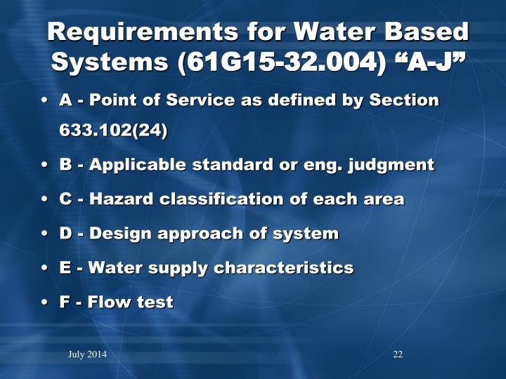 Requirements for Water Based Systems (
