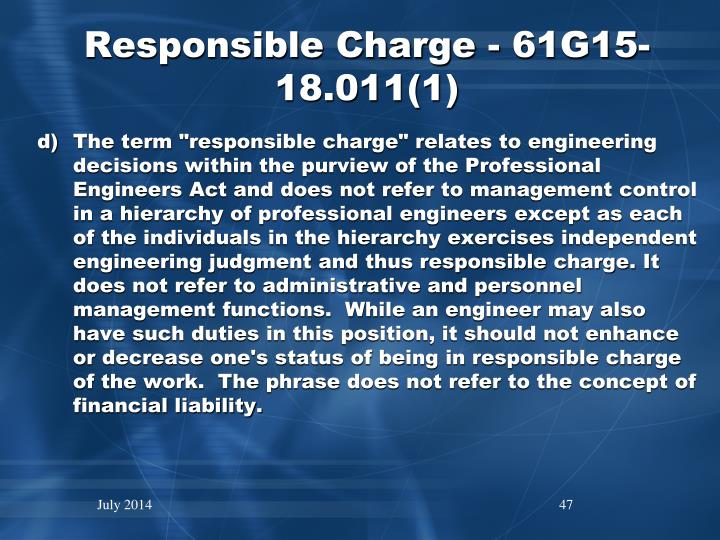 Responsible Charge - 61G15-18.011(1)