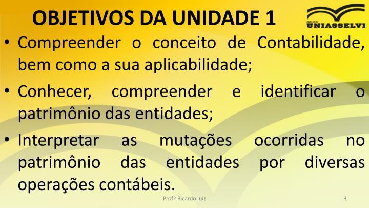 OBJETIVOS DA UNIDADE 1