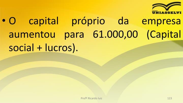 O capital próprio da empresa aumentou para 61.000,00 (Capital social + lucros).