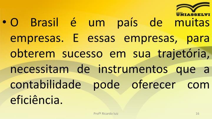 O Brasil é um país de muitas empresas. E essas empresas, para obterem sucesso em sua trajetória, necessitam de instrumentos que a contabilidade pode oferecer com eficiência.