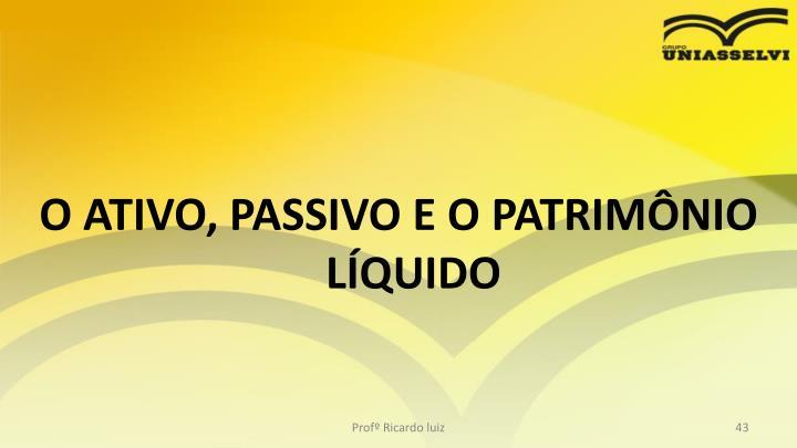 O ATIVO, PASSIVO E O PATRIMÔNIO LÍQUIDO