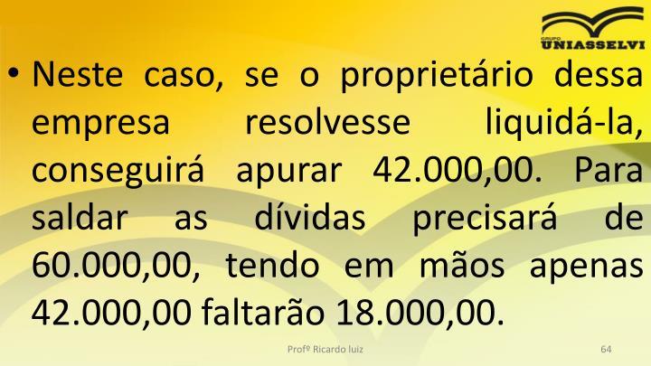 Neste caso, se o proprietário dessa empresa resolvesse liquidá-la, conseguirá apurar 42.000,00. Para saldar as dívidas precisará de 60.000,00, tendo em mãos apenas 42.000,00 faltarão 18.000,00.