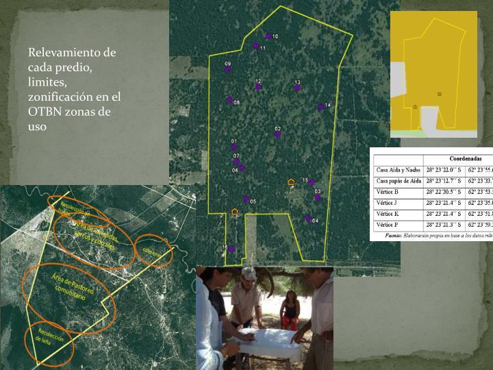 Relevamiento de cada predio, limites, zonificación en el OTBN zonas de uso