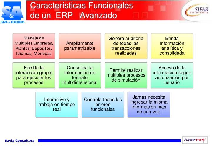 Características Funcionales               de un  ERP   Avanzado