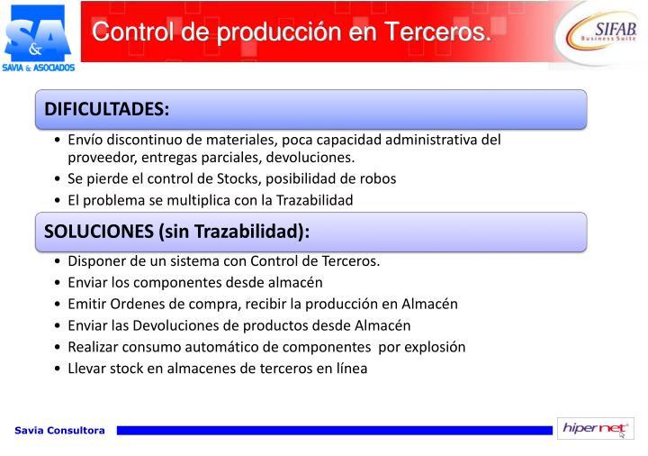 Control de producción en Terceros.