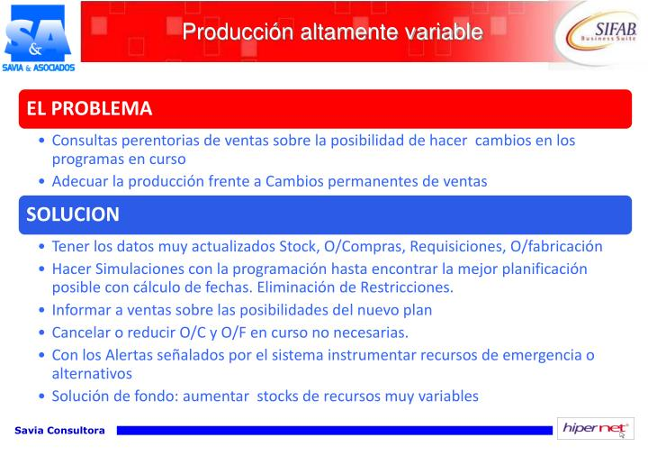 Producción altamente variable