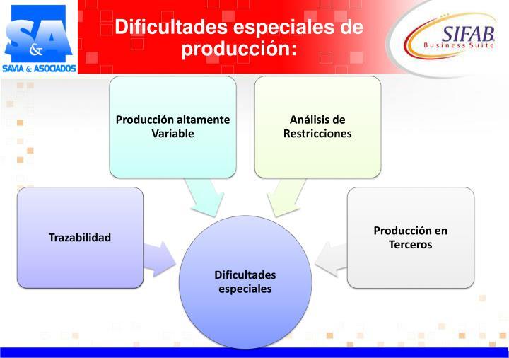 Dificultades especiales de producción: