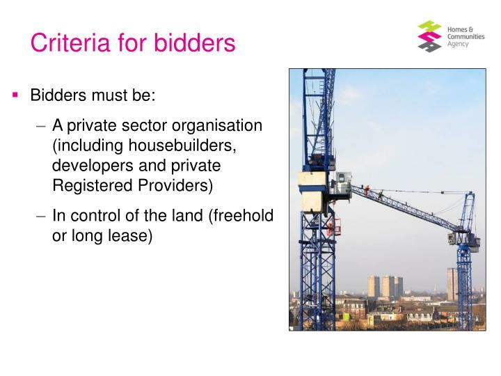 Criteria for bidders