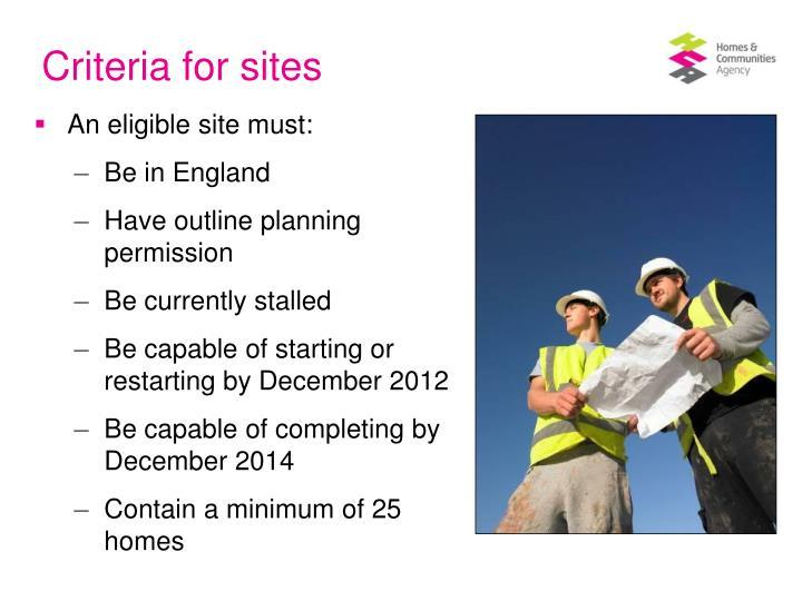 Criteria for sites