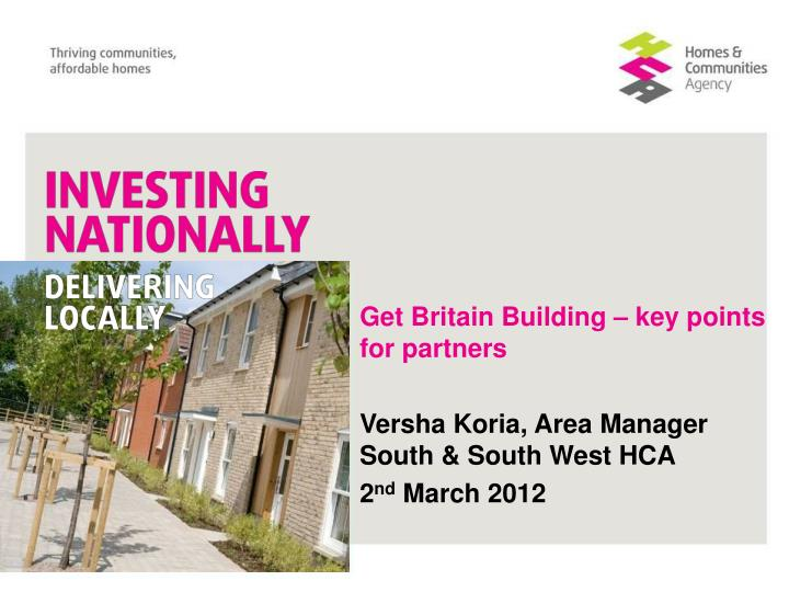 Get Britain Building – key points for partners