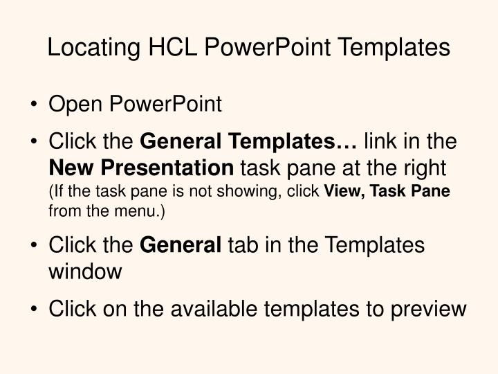Locating HCL PowerPoint Templates