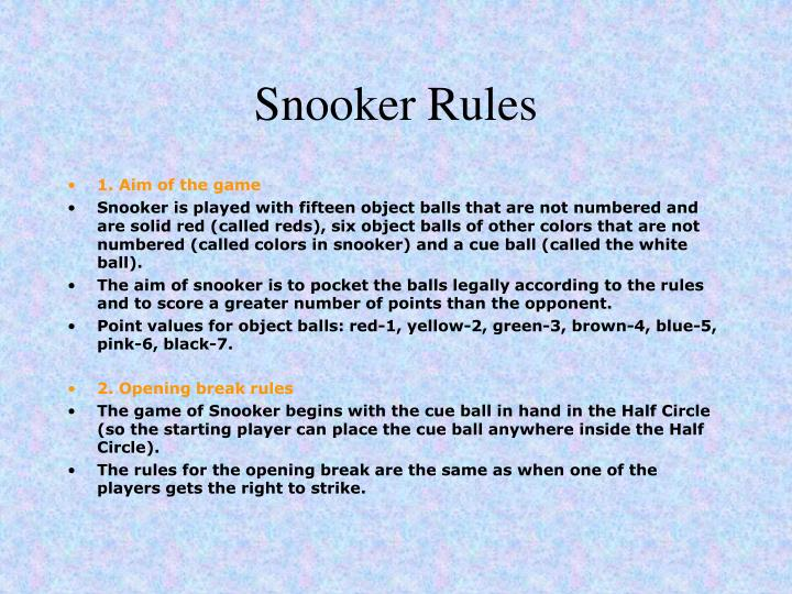 rules for snooker