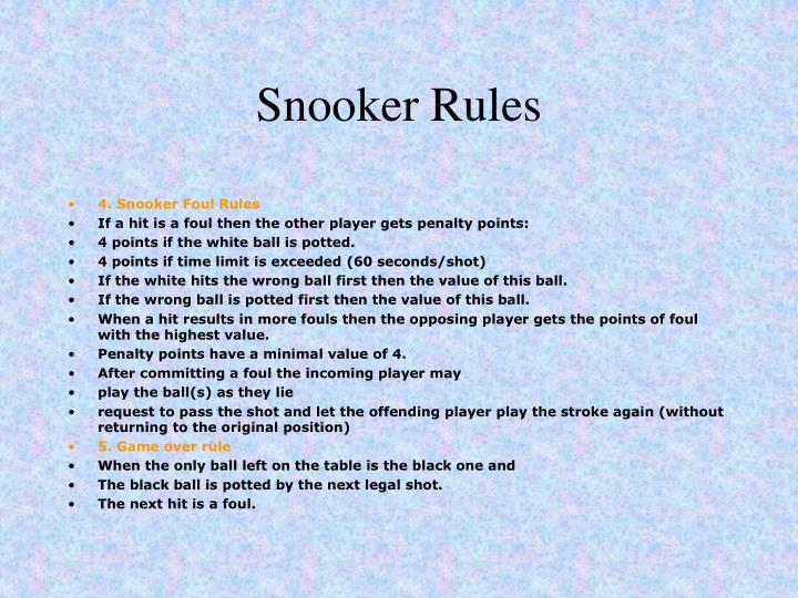 snooker break rules