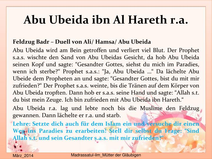 Abu Ubeida ibn Al Hareth r.a.