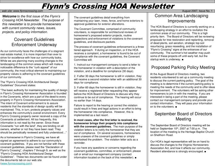 flynn s crossing hoa newsletter