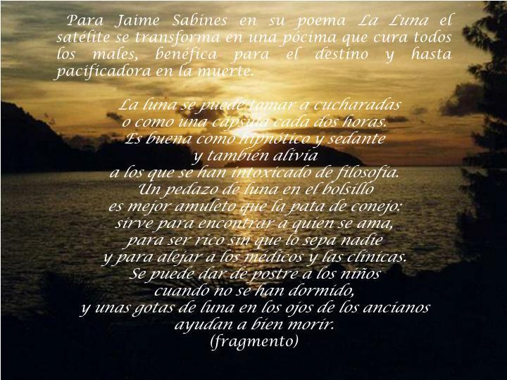 Para Jaime Sabines en su poema