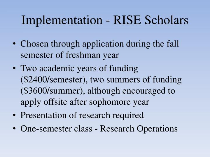 Implementation - RISE Scholars