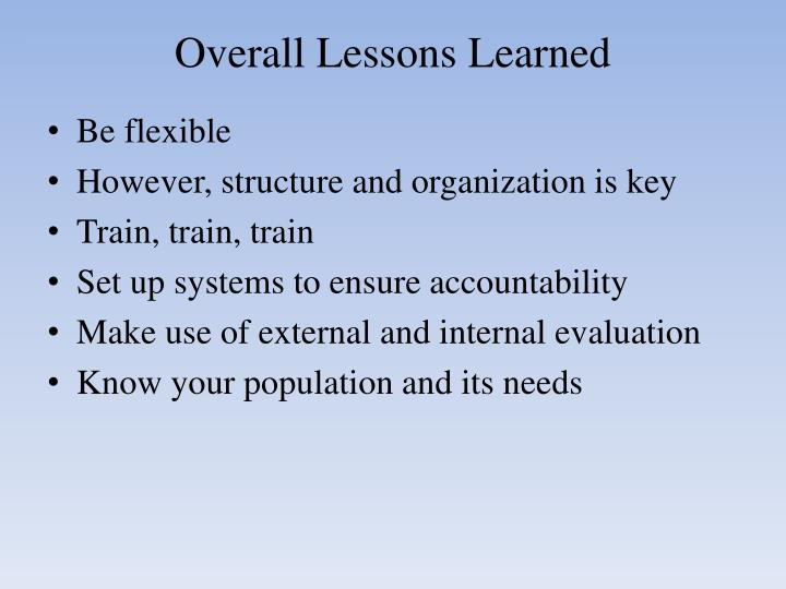 Overall Lessons Learned