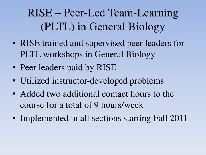 RISE – Peer-Led Team-Learning (PLTL) in General Biology
