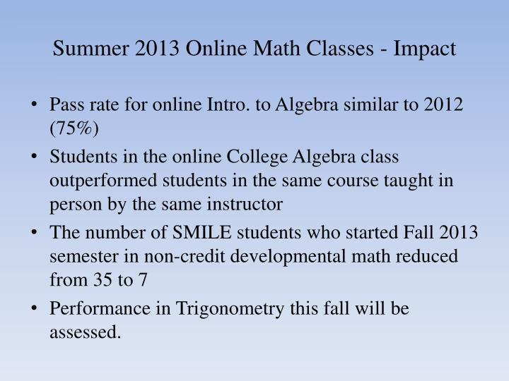 Summer 2013 Online Math Classes - Impact