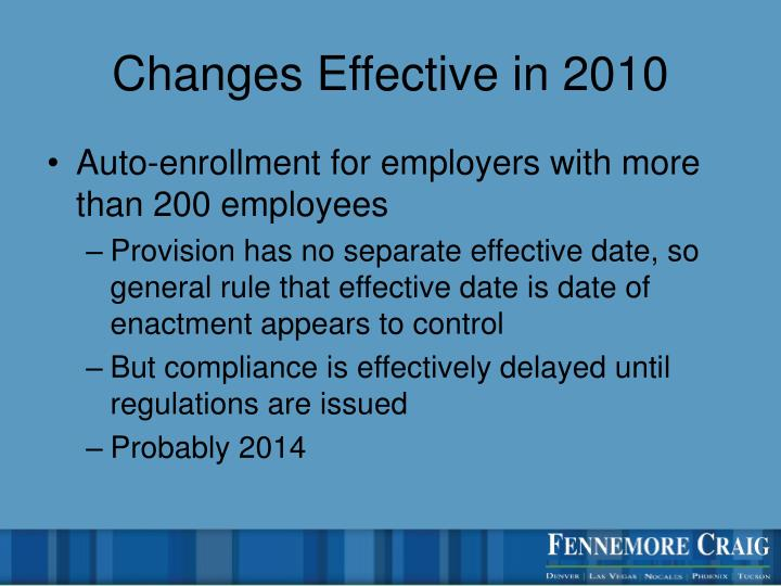Changes Effective in 2010