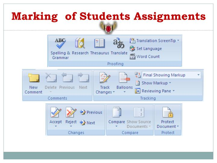 Marking  of Students Assignments