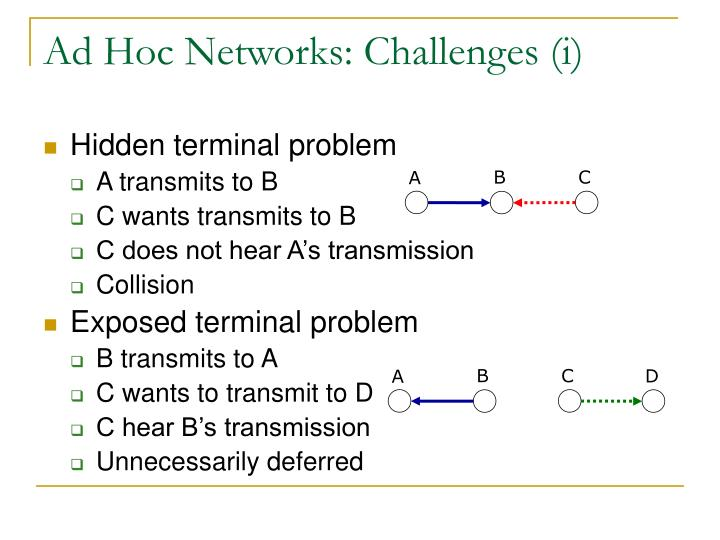 Ad Hoc Networks: Challenges (i)