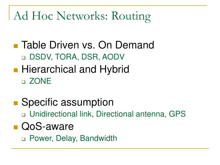 Ad Hoc Networks: Routing