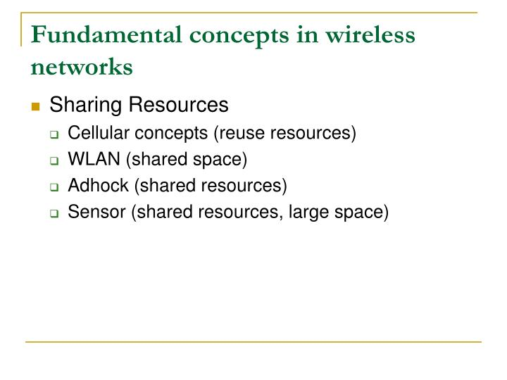 Fundamental concepts in wireless networks
