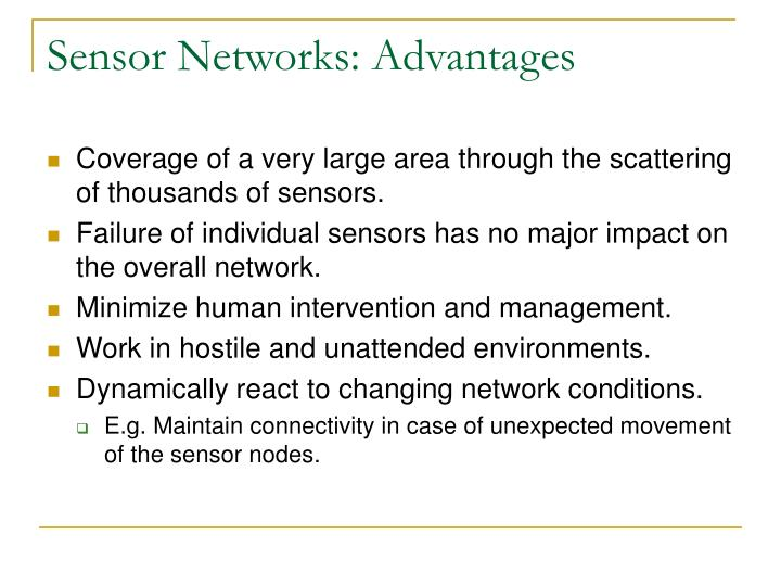 Sensor Networks: Advantages