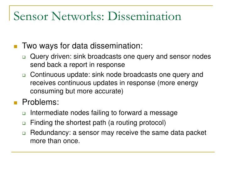 Sensor Networks: Dissemination