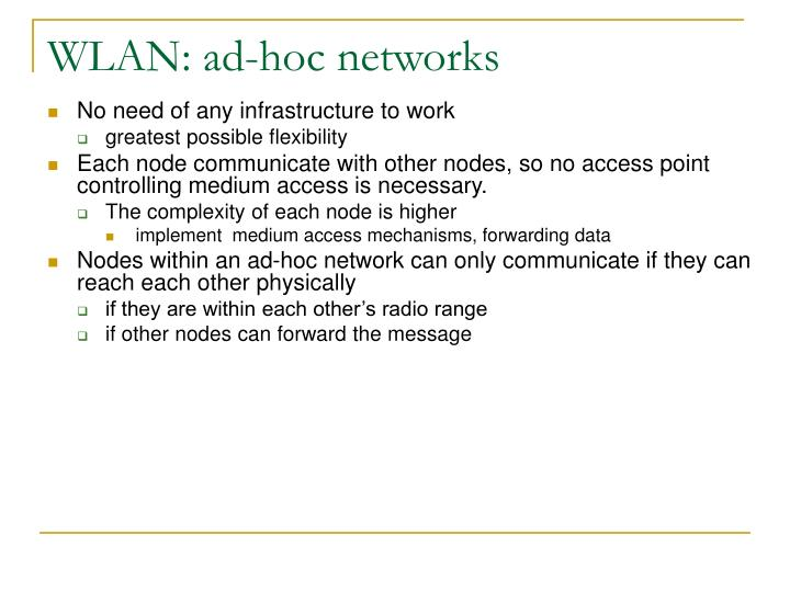 WLAN: ad-hoc networks