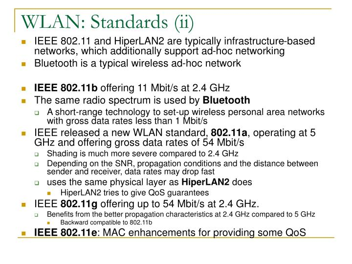 WLAN: Standards (ii)