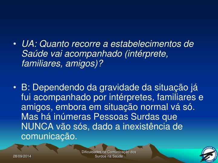 UA: Quanto recorre a estabelecimentos de Saúde vai acompanhado (intérprete, familiares, amigos)?