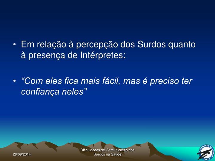 Em relação à percepção dos Surdos quanto à presença de Intérpretes: