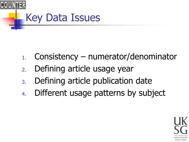Key Data Issues