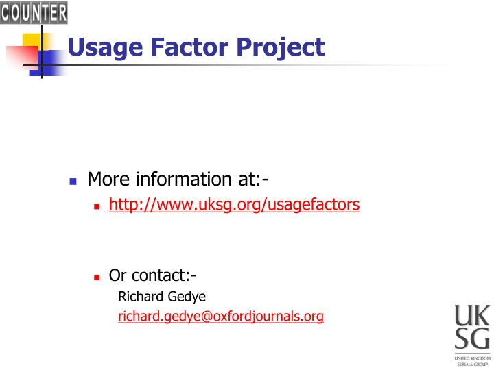 Usage Factor Project