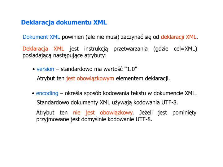 Deklaracja dokumentu XML