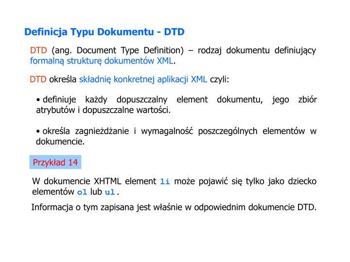 Definicja Typu Dokumentu - DTD