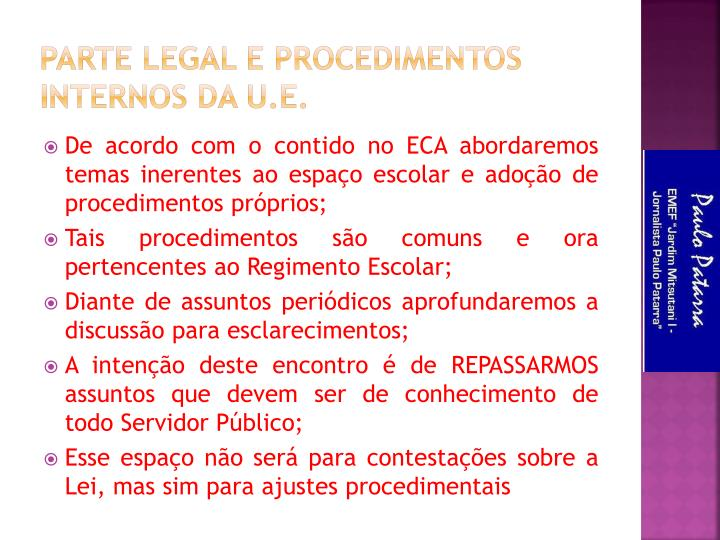 Parte Legal e Procedimentos