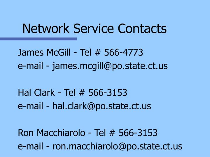 Network Service Contacts